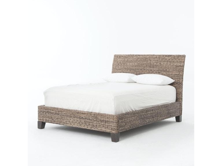 Four Hands Furniture Bedroom Lanai Banana Leaf King Bed Grey Wash Jlan 50k Gry Goods Home