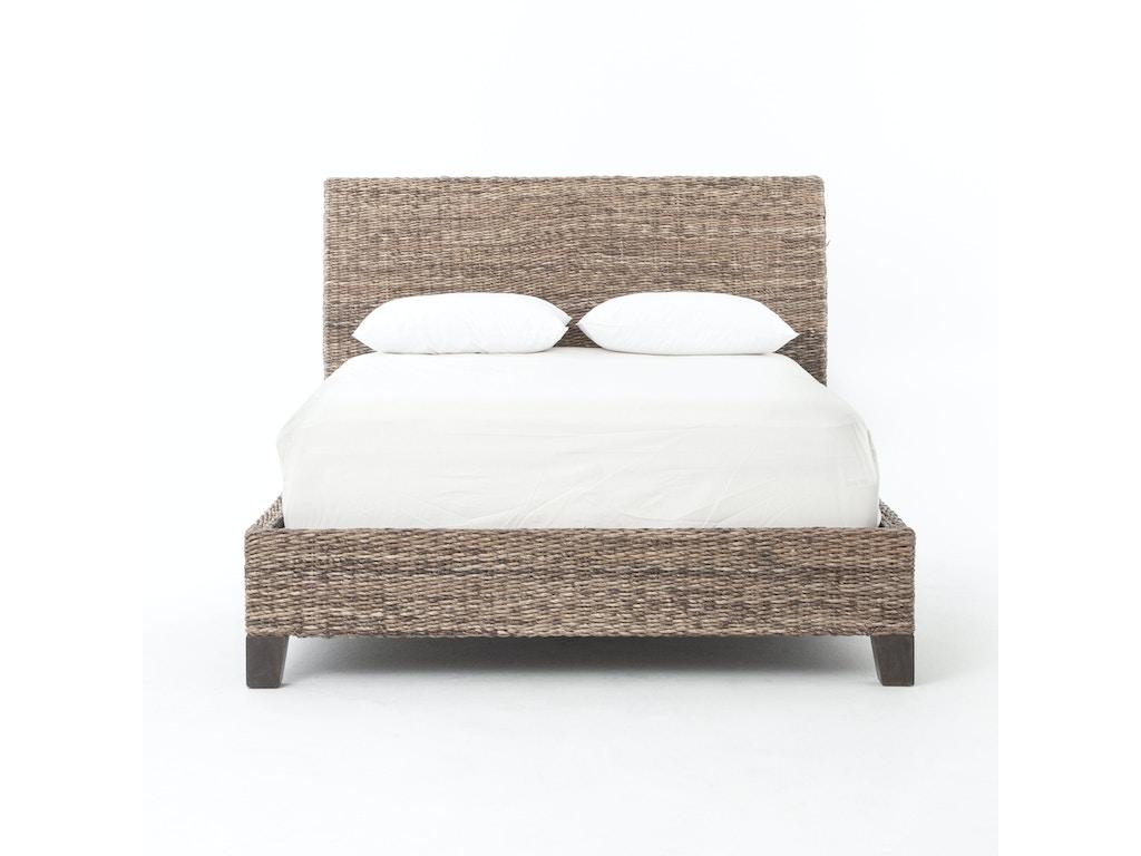 Four Hands Furniture Jlan 50k Gry Bedroom Lanai Banana Leaf King Bed Grey Wash
