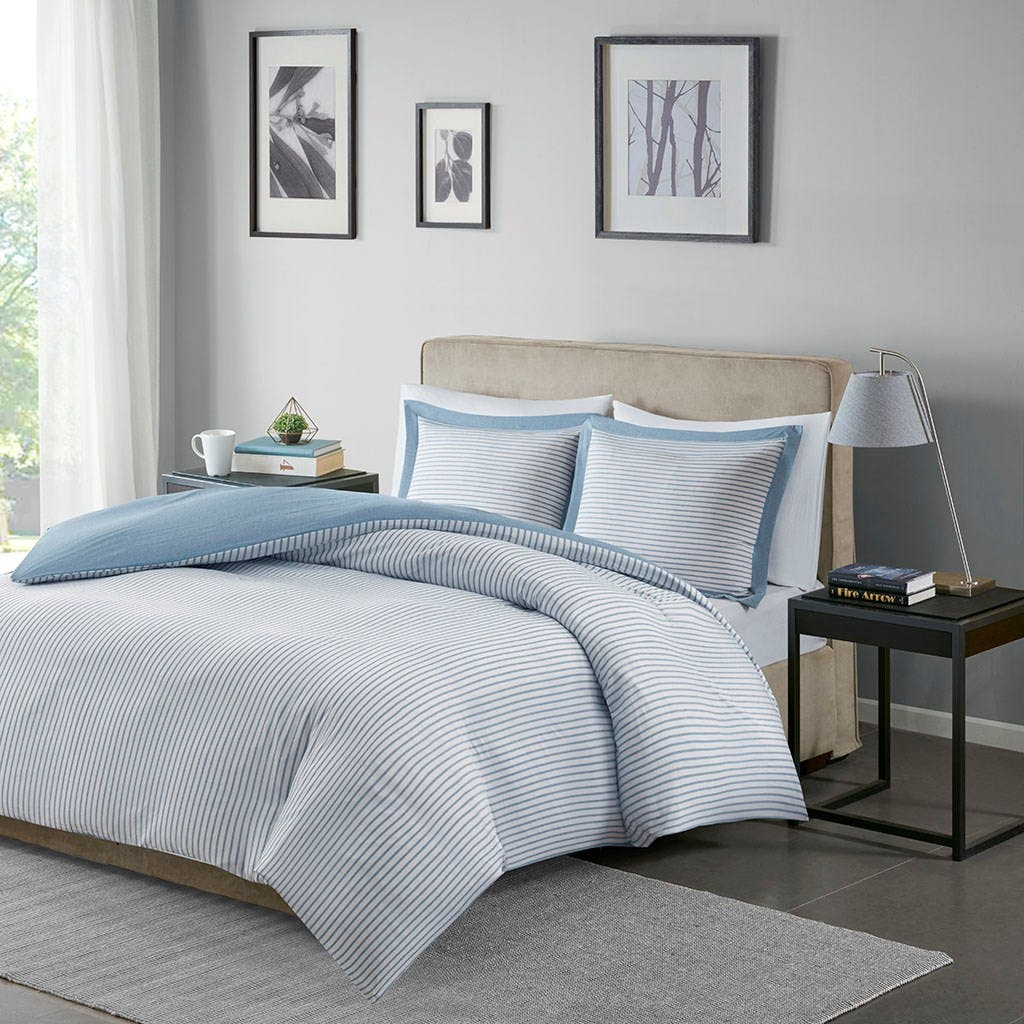 Hampton Hill Bedding Mpe12 639 Bedroom Hayden Reversible Stripe Duvet Cover Mini Set