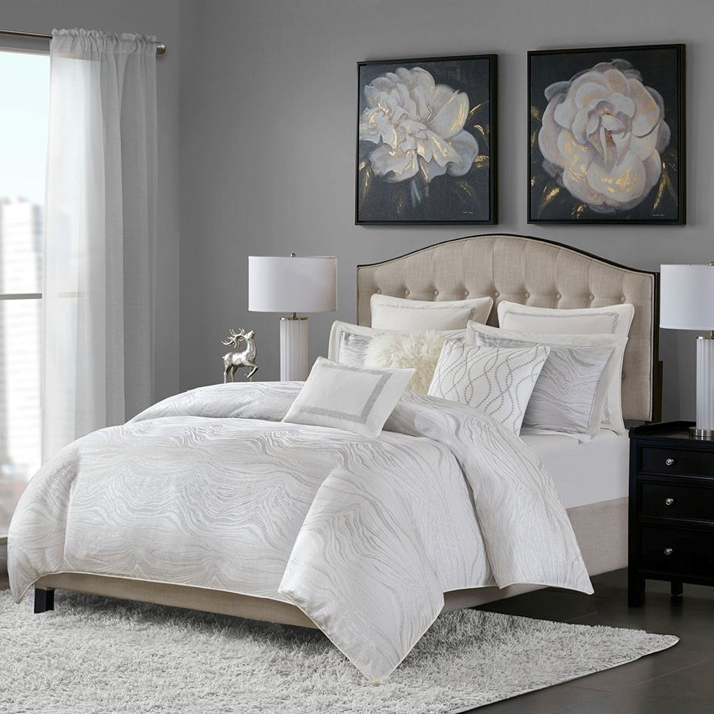 Well-liked Hampton Hill Bedding MPS10-310 Bedroom Hollywood Glam Comforter Set ZK78