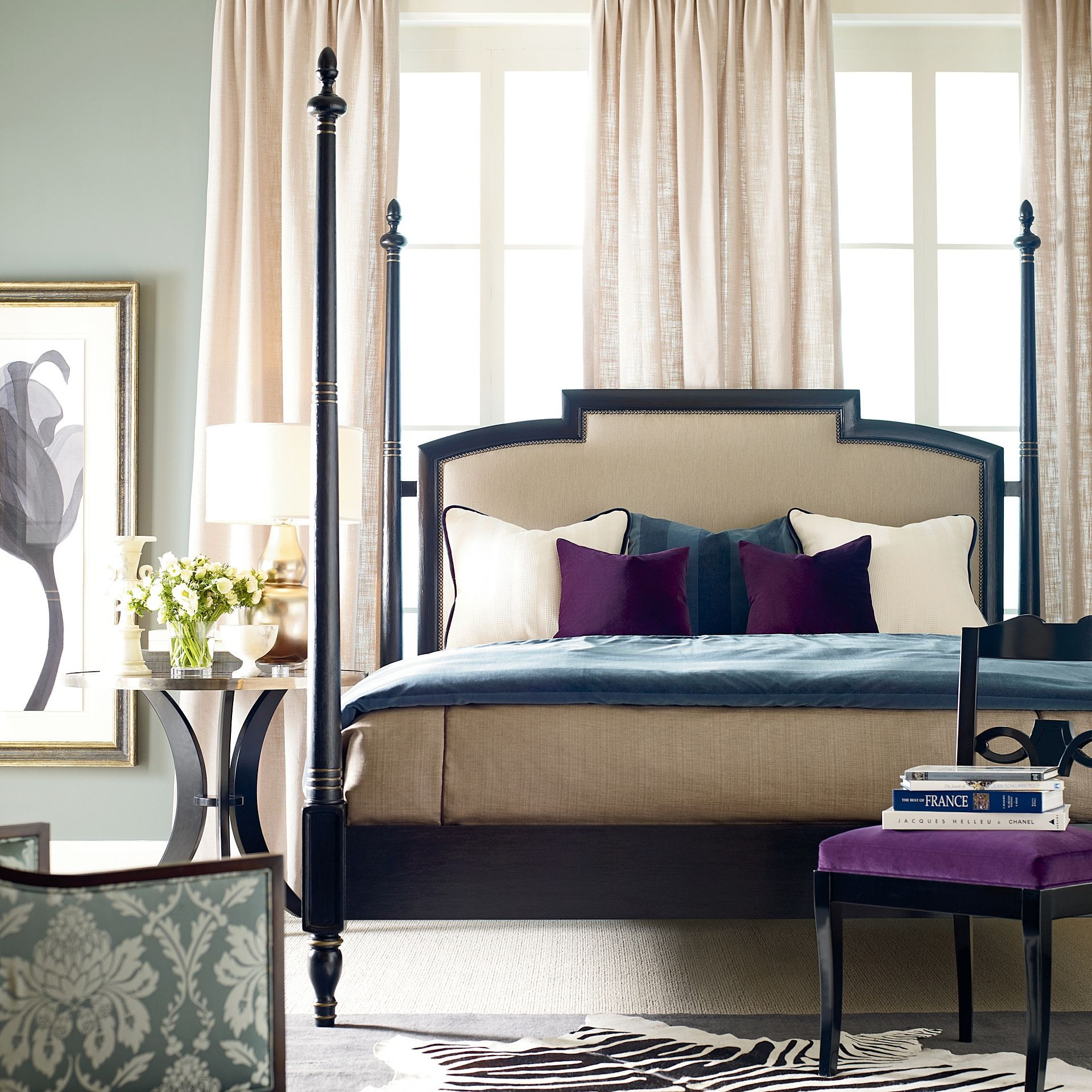Bon Henredon Furniture Acquisitions Paris Rolando Bed With Upholstered  Headboard Panel, 6/6 (King