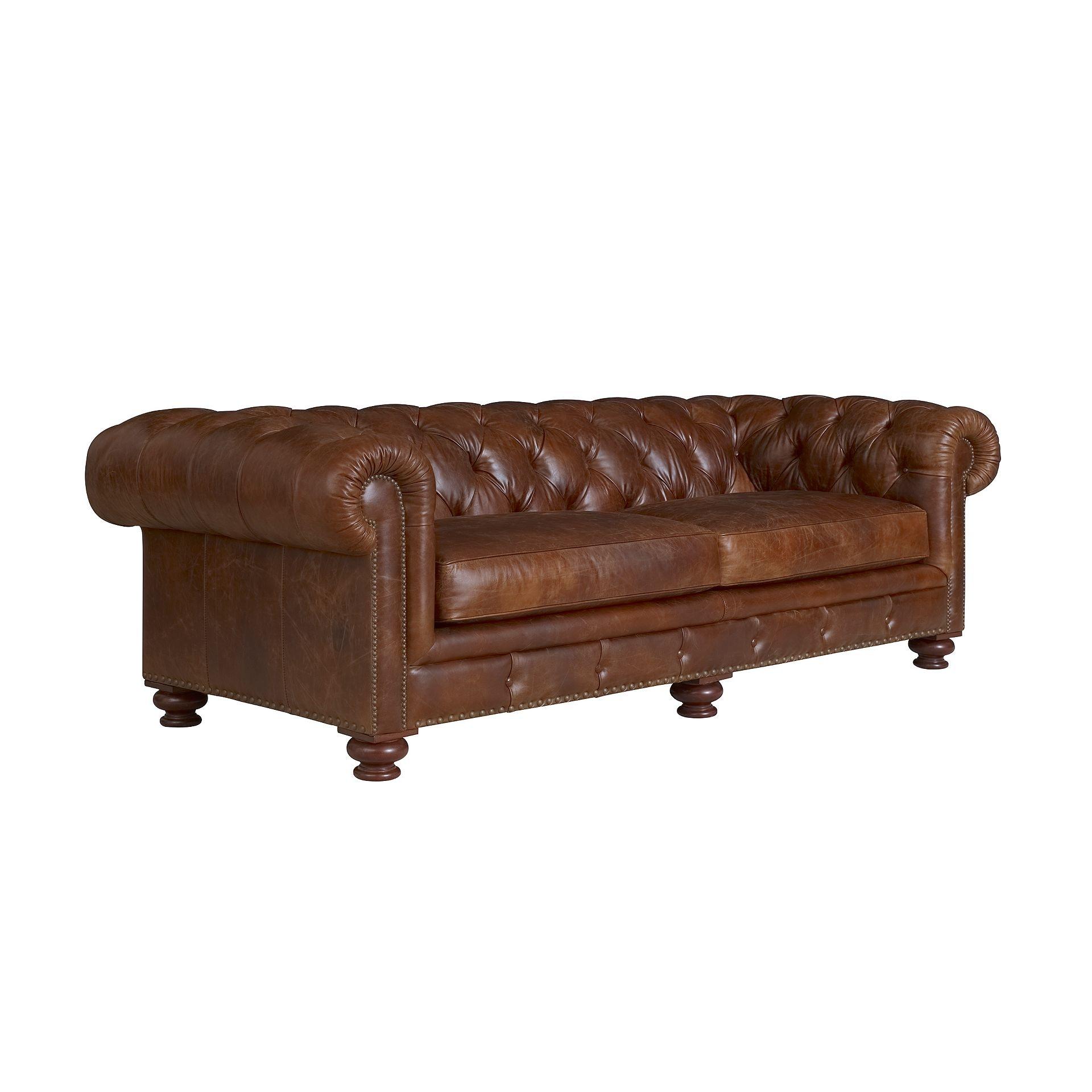 Henredon Furniture Henredon Leather Company Diamond Short Sofa IL8843 B