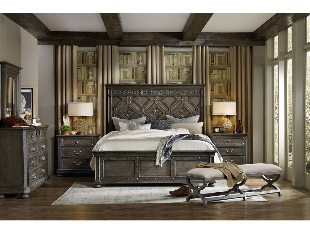 hooker furniture bedroom vintage west king wood panel bed 5700-90266