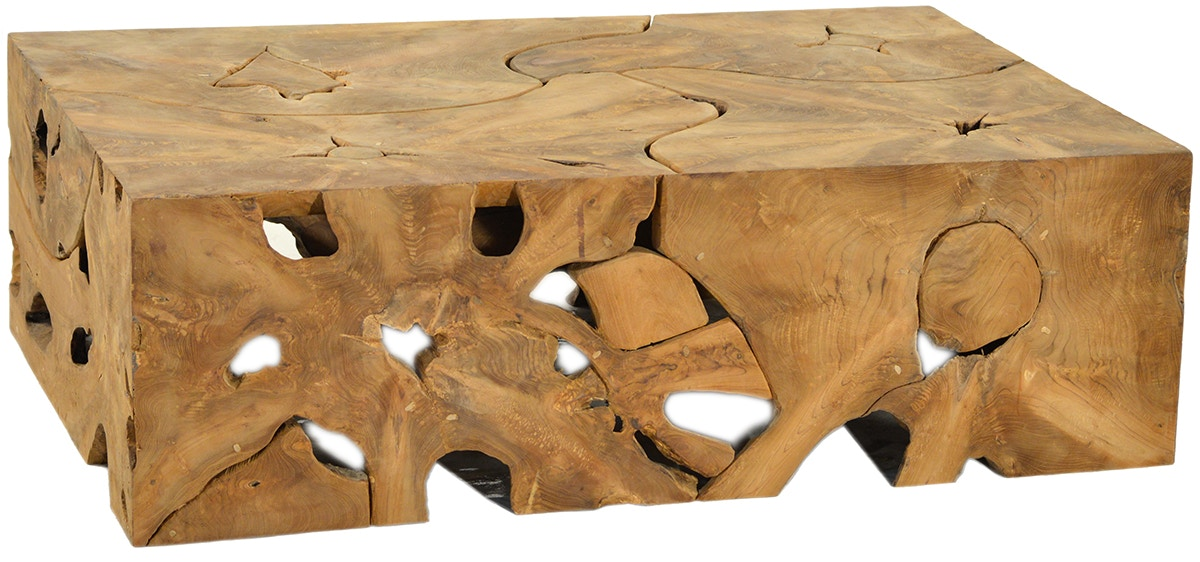 Unique Dovetail Furniture JO3102 Living Room Block Teak Root Coffee Table DO04