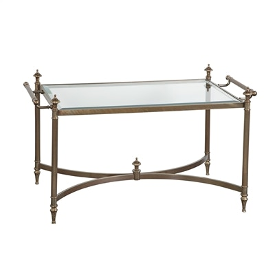 Attirant La Barge Hand Cast Brass Cocktail Table In Antiqued Finish, Inset Glass Top  LT7270