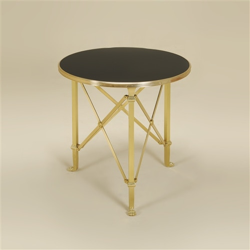 La Barge Satina Finished Brass Occasional Table, Eglomise Black Lacquer  Glass Top LT8504
