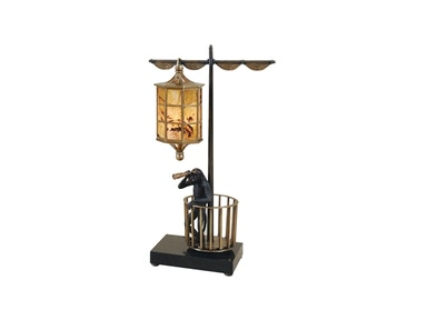 Maitland Smith Dark Bronze Finished Cast Brass Monkey Pirate Lamp, Tiger Penshell Inlaid Shade 1754-845