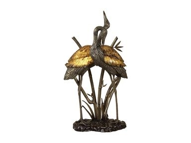 Maitland Smith Antique Brass and Dark Bronze Highlighted Brass Cranes Lamp, Young Tiger Penshell Inlay 1758-275