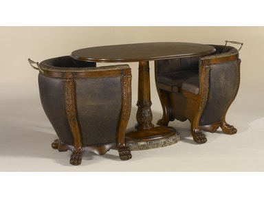Maitland Smith Aged Regency Finish Occasional Table with Old Attic Leather Upholstered Chairs 3030-835