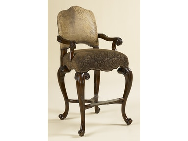 Maitland Smith Dark Antique Lido Finished Barstool, Ragtime Leather and Paisley Upholstery 4230-346