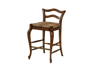 Maitland Smith Avignon Cottage Finished Counter Stool with Abaca Rope Rush Seat, Brass Foot Rest 4230-372