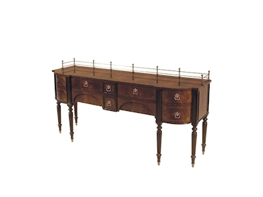 Maitland Smith Mahogany Finished Tulip and Crotch Veneer Sideboard, Dark Antique Patina Brass Accents 5130-437