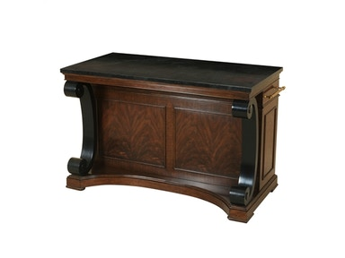 Maitland Smith Webster Walnut Finished Kitchen Island, Black Waxstone Top, Classic Brass Accents 5130-649
