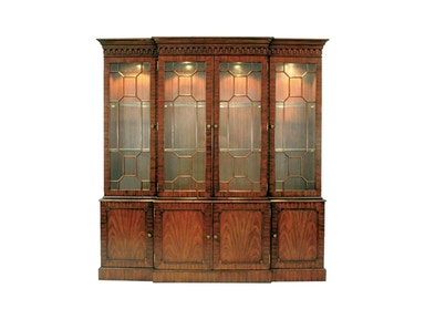 Maitland Smith Mahogany Breakfront Lighted China Cabinet, Glass Shelves Light Antique Brass Mounts 5731-102