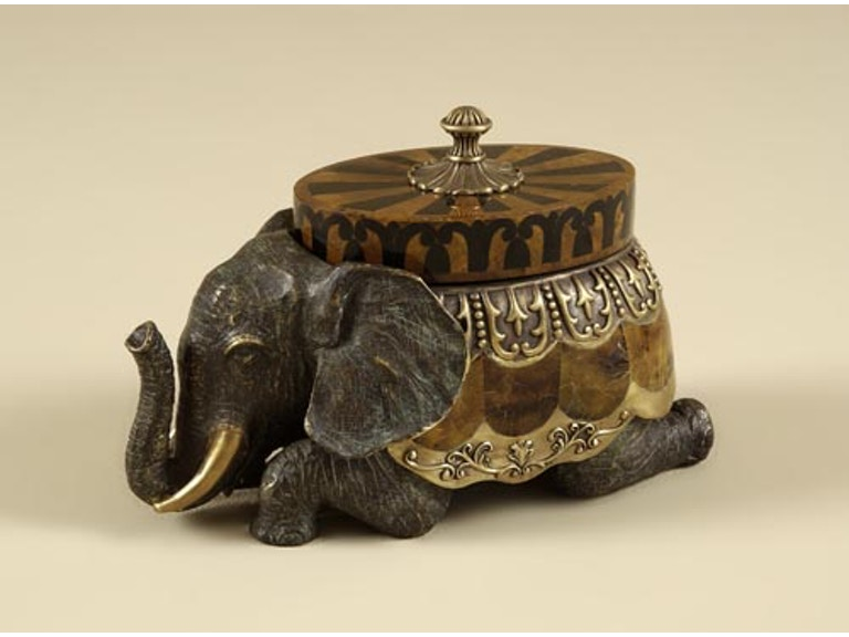 Maitland Smith Cast Brass Elephant Box Dark Bronze Verdigris Finish Black And Tiger