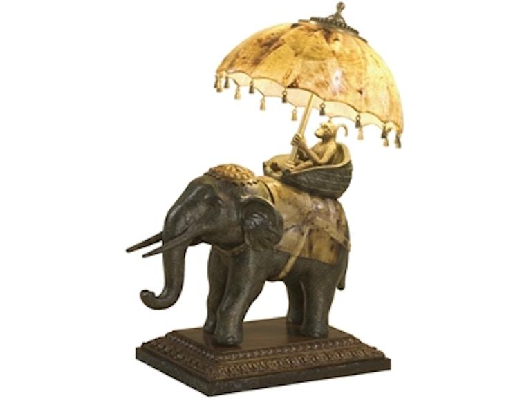 Maitland Smith Decorative Elephant Lamp Tiger Penshell Accents Umbrella Brass Monkey Wood