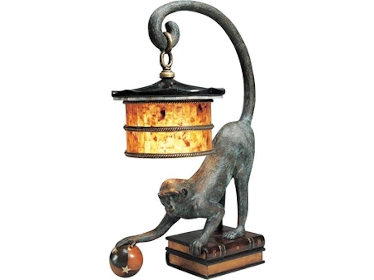 Maitland Smith Verdigris Bronze Patina Monkey Lamp Leather Book Design Base Penshell Shade 8136