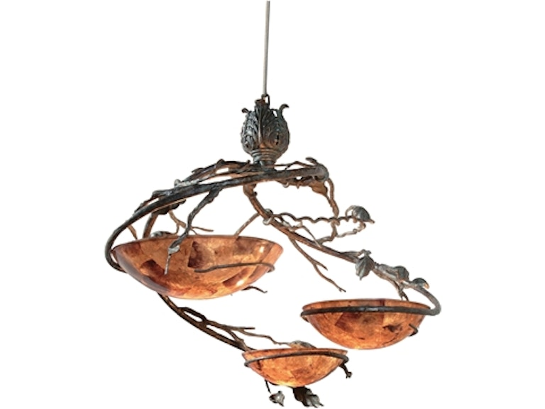 Maitland Smith Verdigris Finished Steel And Patina Brass Chandelier Penshell Inlay Bowls 8118 19