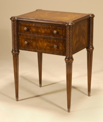 Lovely Maitland Smith Aged Regency Mahogany Finished Two Drawer Occasional Table,  Tapered Legs 8117 30