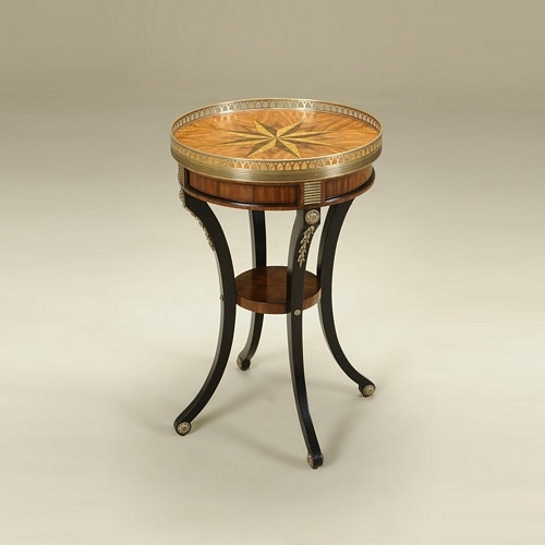 Maitland Smith Black Vendome Finished Round Occasional Table, Marquetry U0026  Antique Brass Accents Maitland