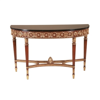Maitland Smith Regency Finished Mahogany Console Table, Gold Leaf Accents,  Black Waxstone Top 8109