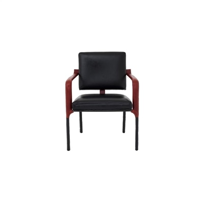 Maitland Smith Black Leather Desk Chair With Red Leather And White  Stitching Accents 8101 43