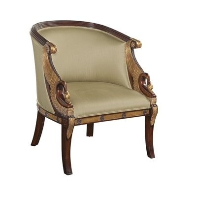 Superieur Maitland Smith Hand Carved Mahogany Empire Armchair, Gold Metal Leaf Swan  Accents, Neutral Uph