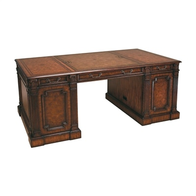 Maitland Smith Dark Burnished Laurel Burl And Crotch Veneer Computer  Compatible Desk, Leather Top 8107