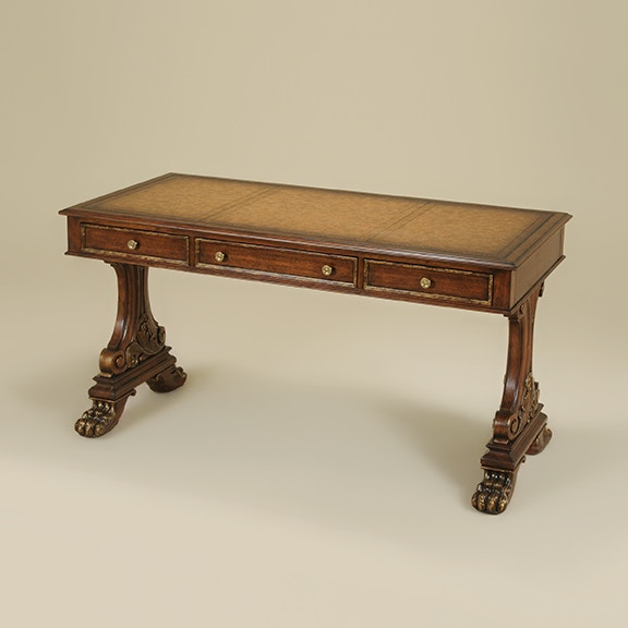 Incroyable Maitland Smith Carved Vintage Chestnut Finished Desk, Soft Brown Leather  Inlay, Brass Accents Maitland