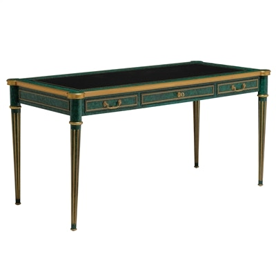Ordinaire 8115 55 Maitland Smith Painted Faux Malachite And Leather Inlay Desk