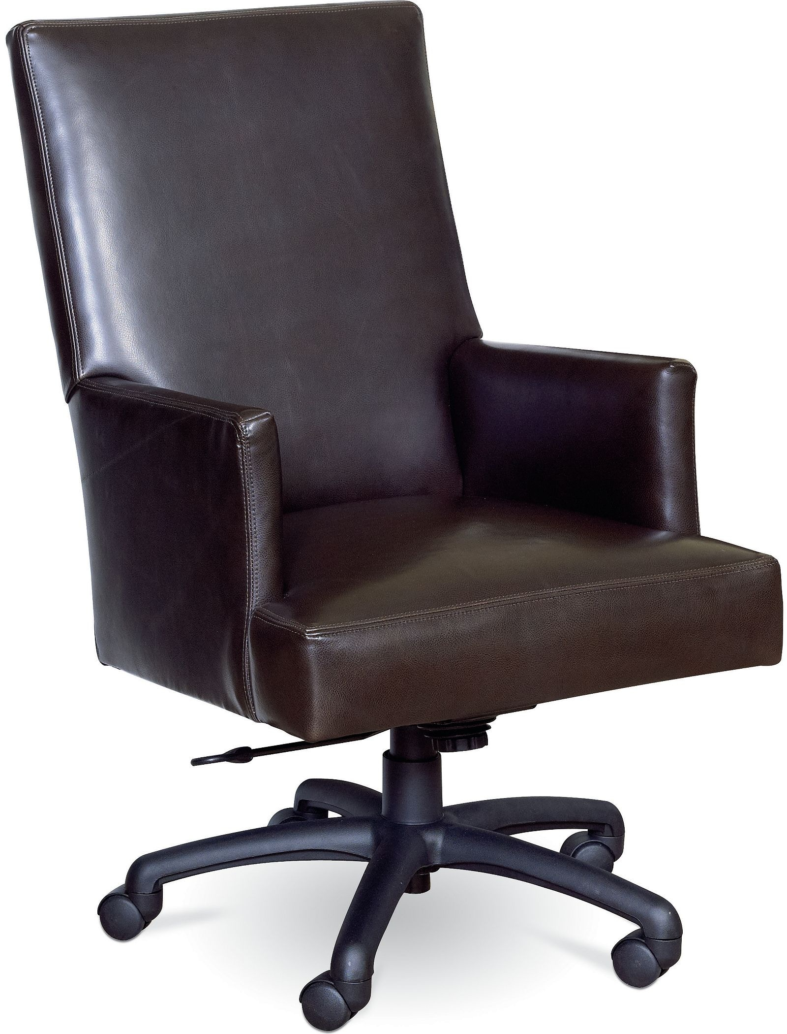 Thomasville Brown Leather Rolling Desk Chair Discount