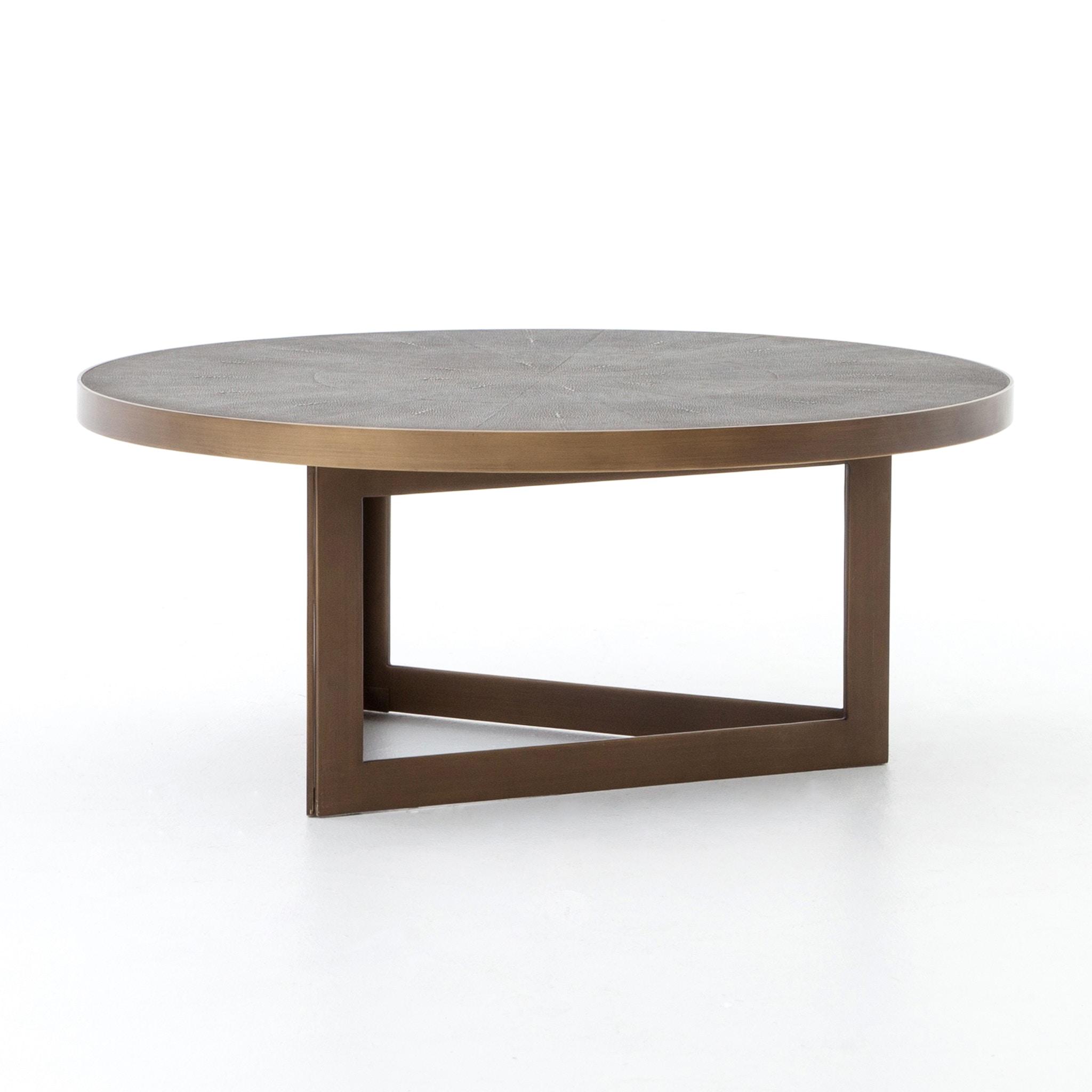 Four Hands Furniture Shagreen Round Coffee Table Antique Bras VBEN 002