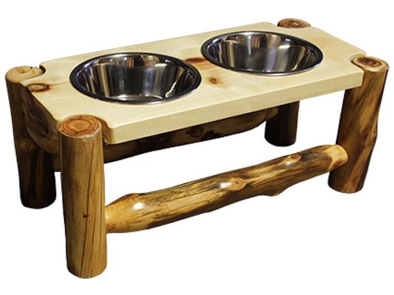 Rustic Log Furniture 2 Bowl Pet Feeder 2bpf 10 Nn