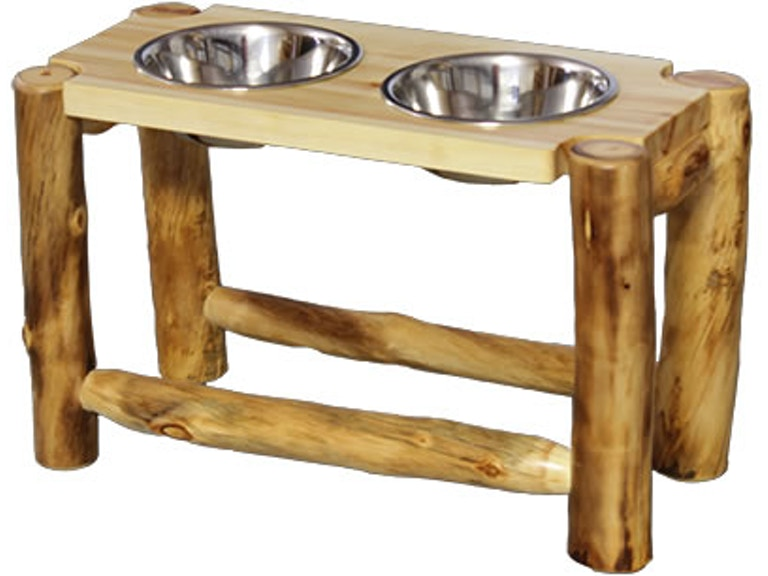 Rustic Log Furniture 2 Bowl Pet Feeder 2bpf 15 Nn