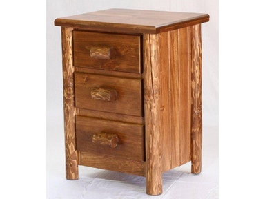 AH Woodworking Rustic 3 Drawer Nightstand 3DNS-RU-GO