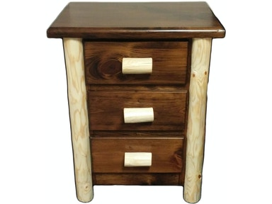 AH Woodworking Rustic 3 Drawer Nightstand 3DNS-RU-WAL-NAT