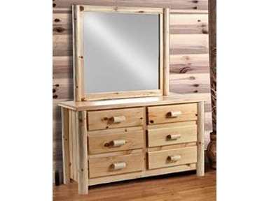 AH Woodworking Rustic Dresser and Mirror 6DDR-RU / MIRLS-RU UNF