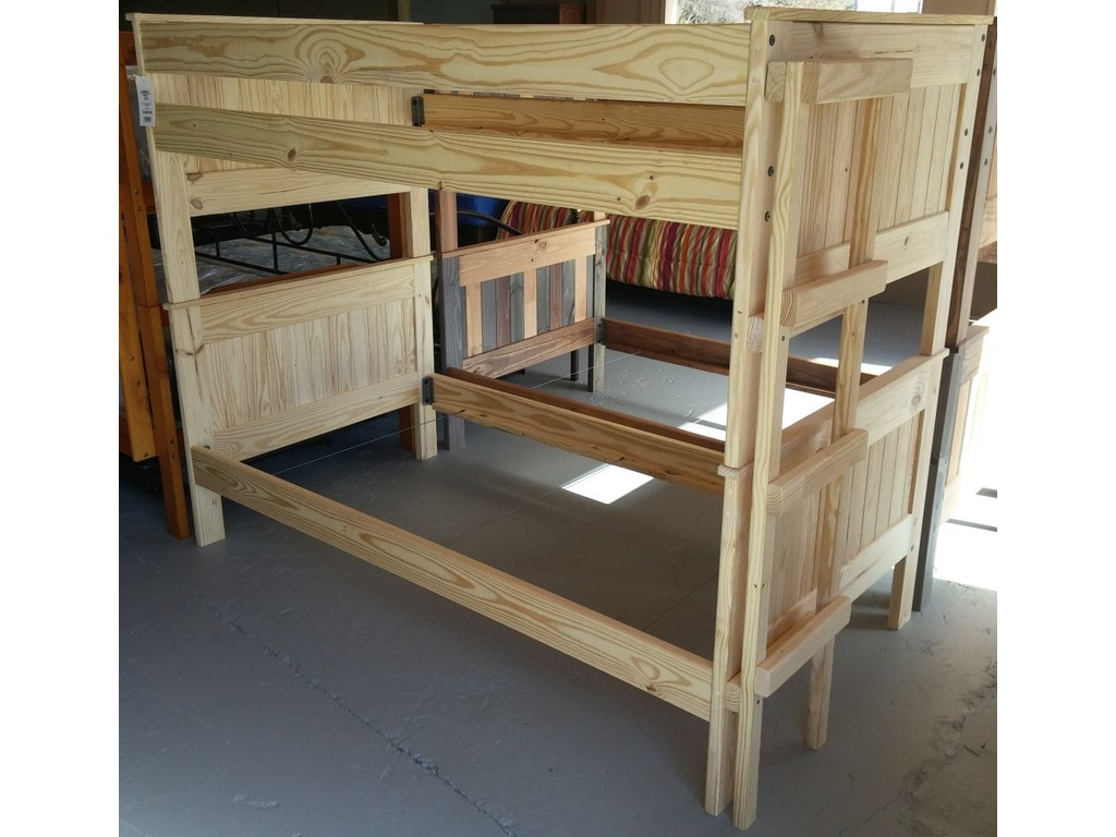 Pinecrafter bedroom unfinished bunk bed 1013 abernathy 39 s for Unfinished loft bed