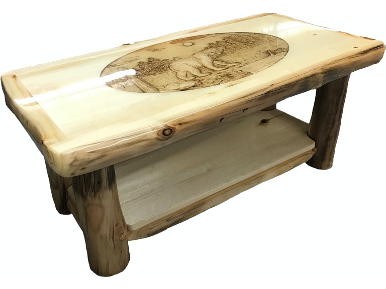 Rustic Log Furniture Coffee Table Ctab 42 Nn Sh Ri Bear