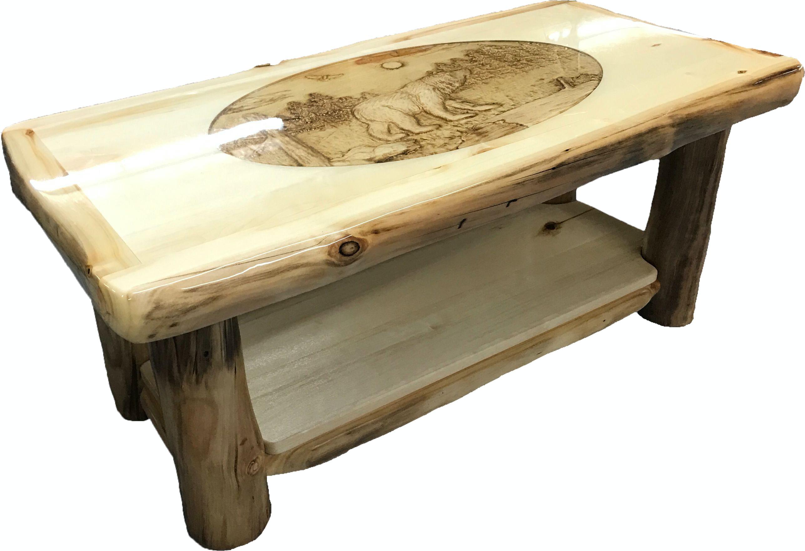 Ordinaire Rustic Log Furniture Coffee Table CTAB 42 NN SH RI Bear