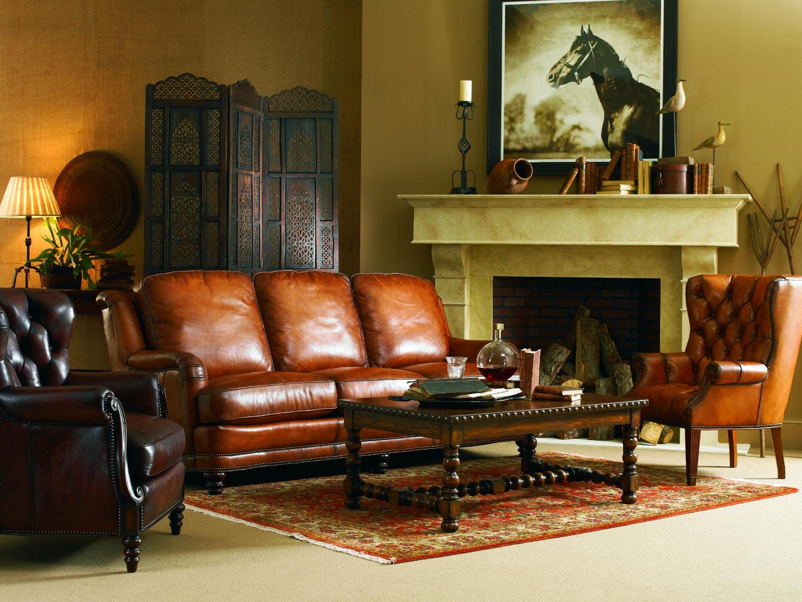 Whittemore Sherrill Furniture Three Cushion Leather Sofa Artisan Sofa