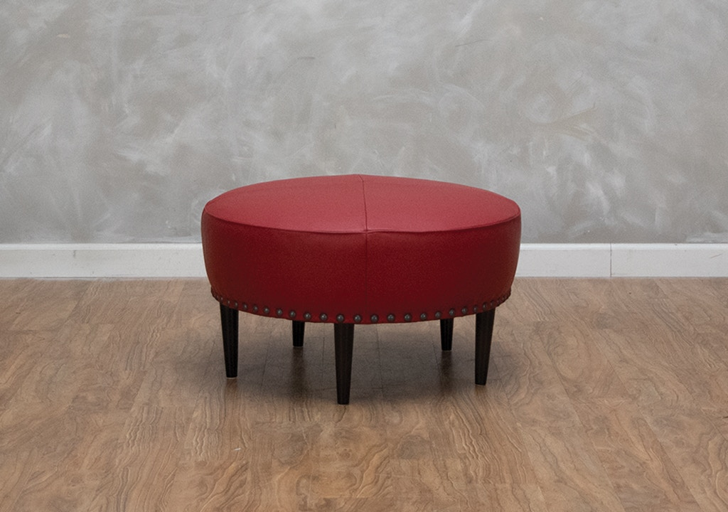 Fabulous Rory Round Leather Ottoman Gmtry Best Dining Table And Chair Ideas Images Gmtryco