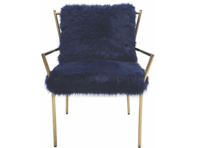 New Pacific Direct Duffy Navy Faux Fur Chair 557479