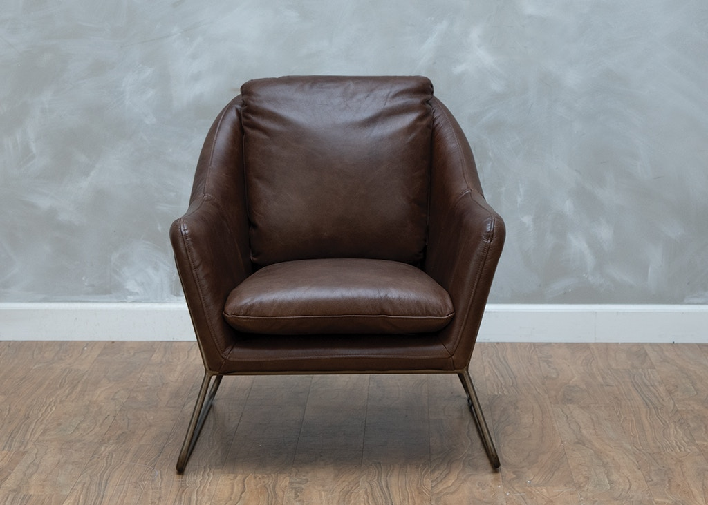 At Home Accent Chairs.Alan Leather Accent Chair