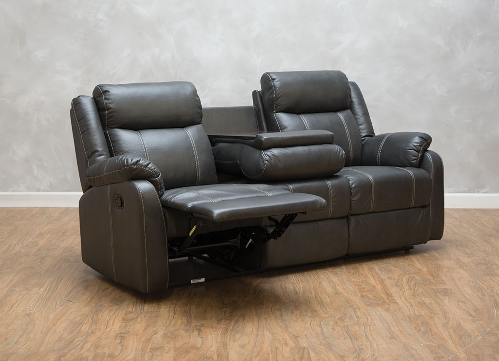 Klaussner Living Room Domino Reclining Sofa With Table