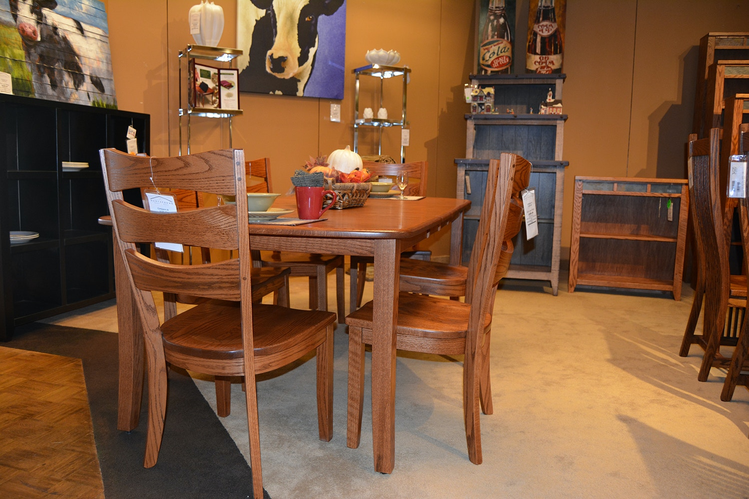 Danielu0027s Amish Table And 4 Chairs 42602T BAN7PC