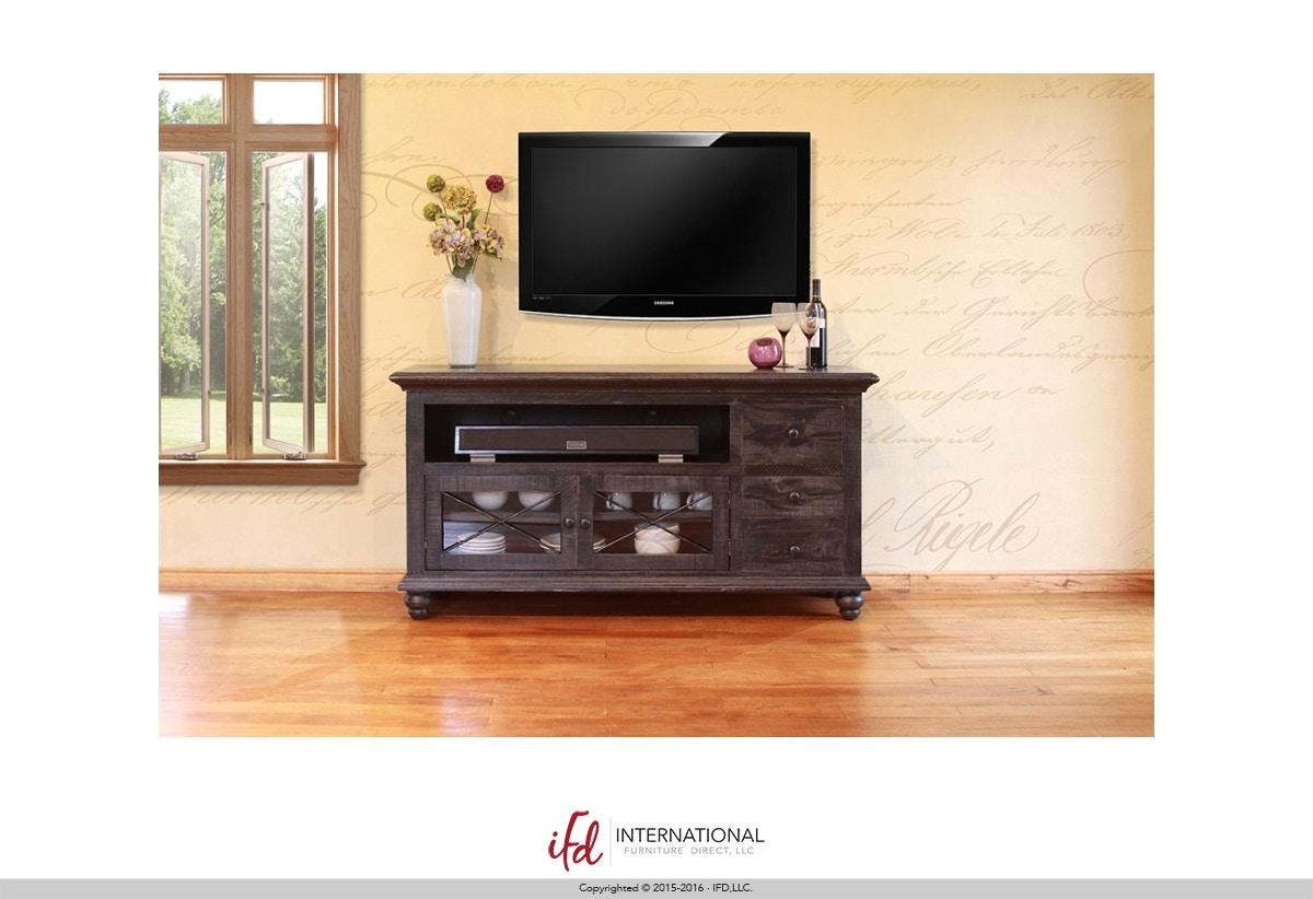 International Furniture Direct Vintage Black 62 TV Stand 6133460