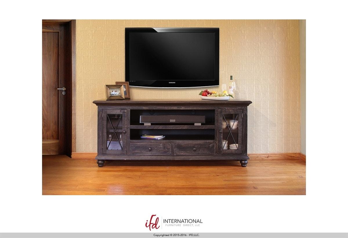International Furniture Direct Vintage Black 72 TV Stand 6133490
