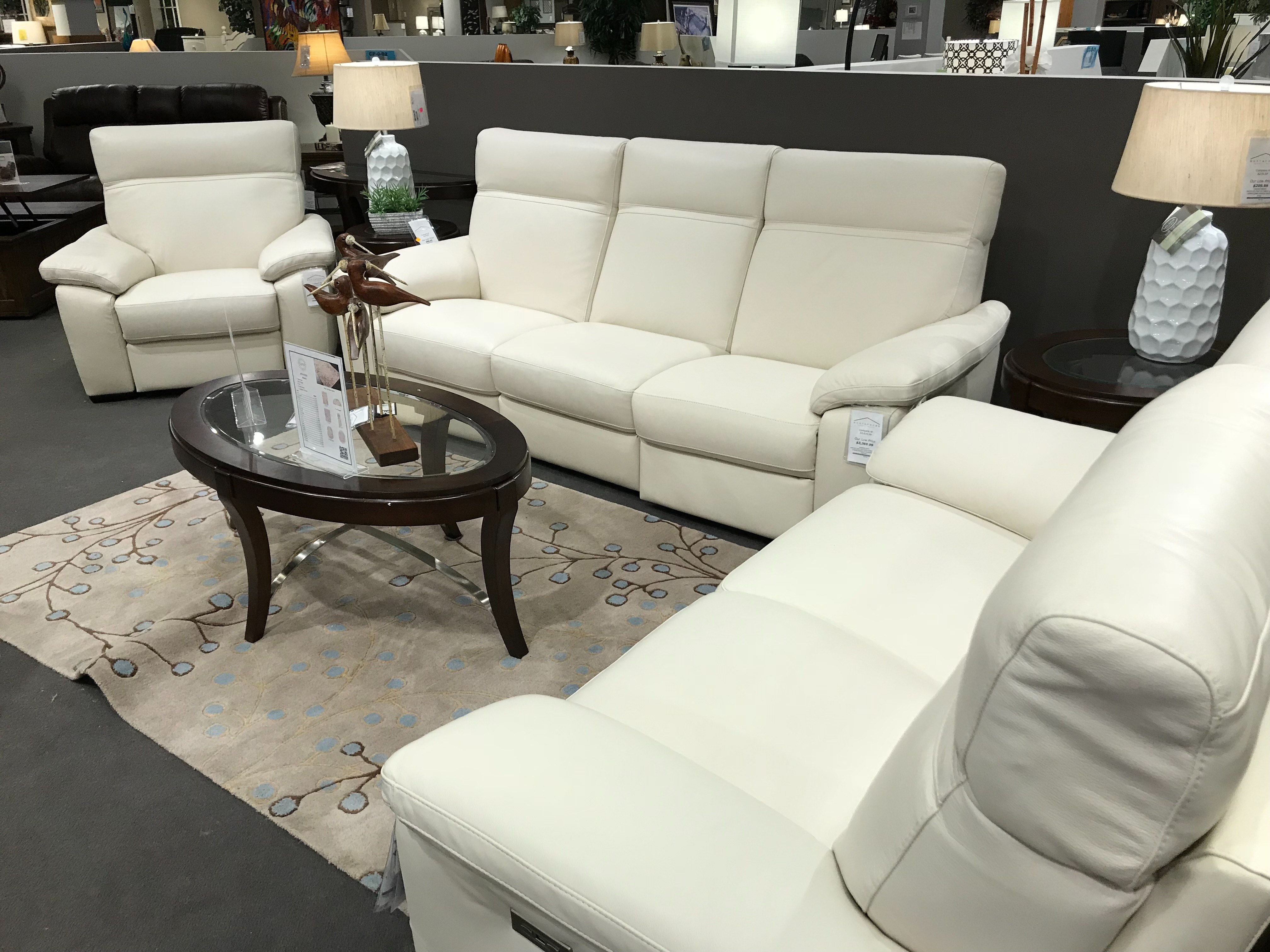 Natuzzi Leather Sofa, Loveseat, And Chair NAT 3